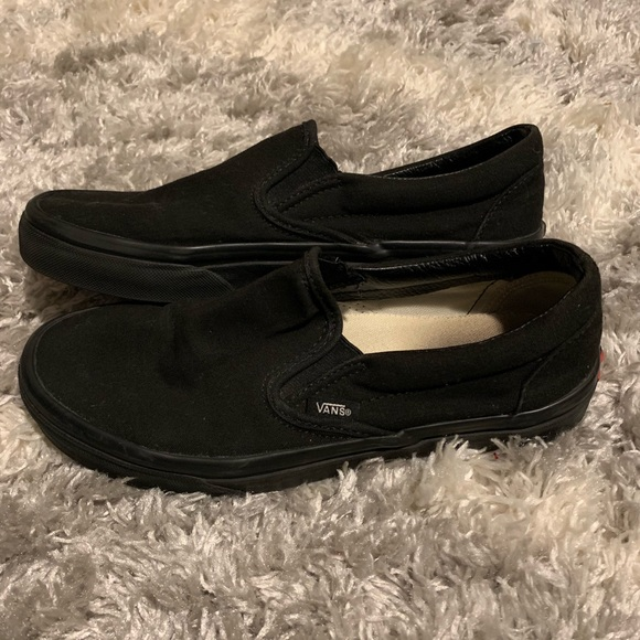 Vans Shoes | Black Slip On Vans | Poshmark